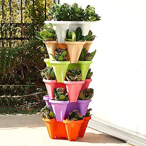 UCISACOLT Vaso impilabile per fragole, erbe, giardino, ortaggi, melone, frutta, vaso da giardino e fiori fai da te, multistrato, fragole, torre di fragole (1 pezzo, verde)