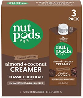 nutpods Classic Chocolate (3-Pack), Unsweetened Dairy-Free Creamer, Made from Almonds and Coconuts, Whole30, Keto, Gluten ...
