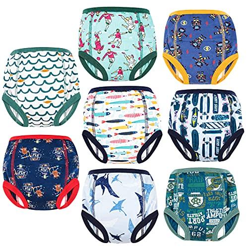 FLYISH DIRECT Kleinkind Töpfchen Trainingshose Baby Lernwindel Trainerhosen Unterwäsche für Baby Kleinkinder, 8 Stück, 90/2T, 2 Jahre