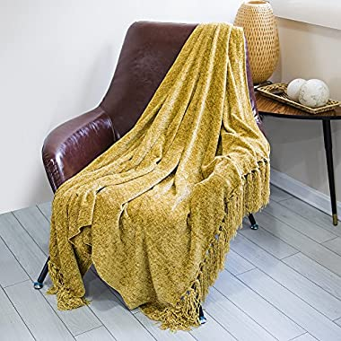 DOZZZ Chenille Couch Throw Blanket with Decorative Fringe for Home décor Gift Sofa Chair Bed Furniture Cover, Gold