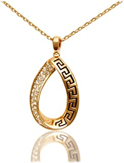Women's 18k Gold Plated Necklace with Oval Pave European Crystal Pendant, 18