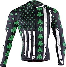 Ainans Thin Red Line Firefighter Men's Cycling Jersey Long Sleeve Bike Jacket Biking Bicycle Jersey Shirt