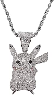 Hip Hop Iced Out Cute Pikachu Pendant Fully Simulated...