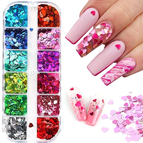 Cosswe Valentines Day Nail Art Heart Glitters Nail Sequins Nail Art Colorful Hearts Nail Glitter Sequins,Confetti Paillettes for DIY Nail Art,Lip Gloss Decorations,Eye Makeup Sequins