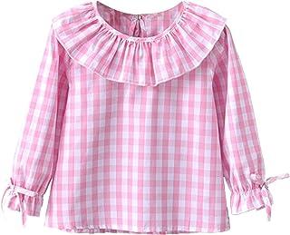 FEESHOW Kleinkind Mädchen Schöne Karierte Bluse Hemden Trachtenbluse Blüschen Bequeme Baumwolle Oktoberfest Trachtenmode Babybekleidung Rot Weiß