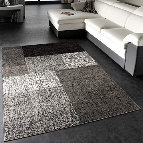 Paco Home Designer Teppich Modern Kariert Kurzflor Design Meliert In Grau Creme Braun, Grösse:140x200 cm