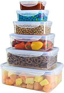 Food Storage Plastic Containers with Locking Lids, Airtight, Nested, Set Of 6 BPA Free Dishwasher and Freezer Safe