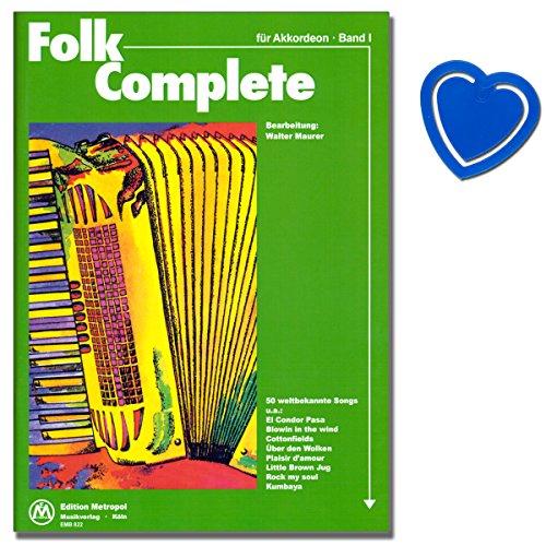 50 canzoni famose in tutto il mondo per fisarmonica elaborate da Walter Maurer con un grado di difficoltà da facile a medio - spartito con clip segnanote a forma di cuore colorato
