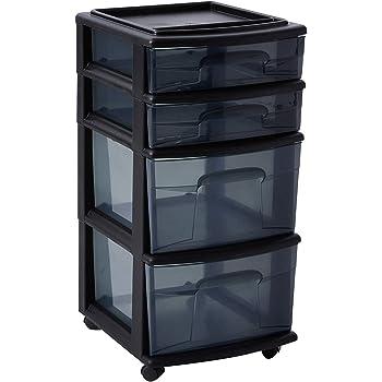 HOMZ Plastic 4 Drawer Medium Cart, Black Frame with Smoke Tint Drawers, Casters, Set of 1