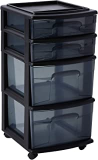 HOMZ Plastic 4 Drawer Medium Cart, Black Frame with Smoke Tint Drawers, Casters Included, Set of 1