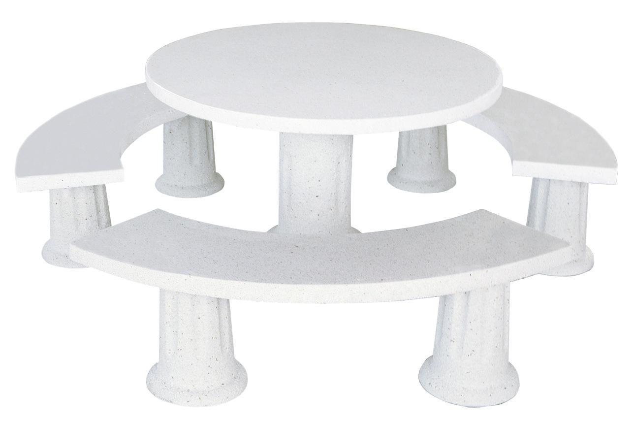 Conjunto Mesa Comedor Redonda DE Jardin Piedra Artificial con Fibra.Mesa Blanca (Arthur): Amazon.es: Hogar