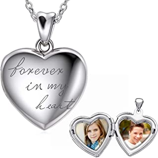 925 Sterling Silver Personalized Locket Necklace That Holds Pictures Photo Heart Locket Necklace, Forever In My Picture Locket Necklace for Women Girls