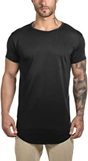 Short Sleeve Workout Gym Athleisure T Shirts for Men Hipster Longline Rounded Hem Tee Top