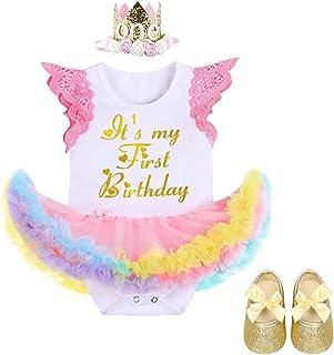 FYMNSI Es ist Mein Erster Geburtstag Baby Mädchen 1 Jahr Outfit Regenbogen Tüll Tütü Prinzessin Body Kleid Strampler  Krone Stirnband  Schuhe 3tlg Set für Geburtstagsparty Fotoshooting