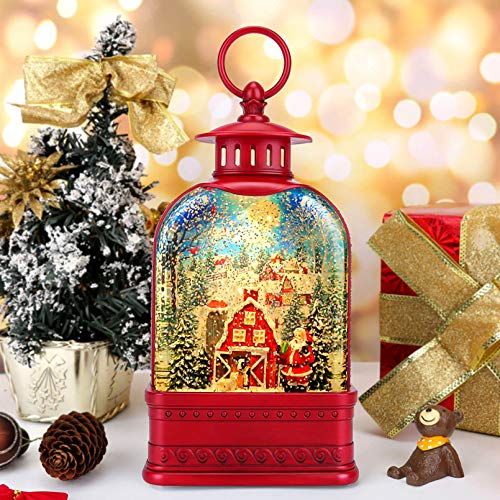 Christmas Snow Globe Lantern Water LED Cardinal Snow Globe Lighted Water Snowglobes with Swirling Glitter Christmas Decorations &Gifts