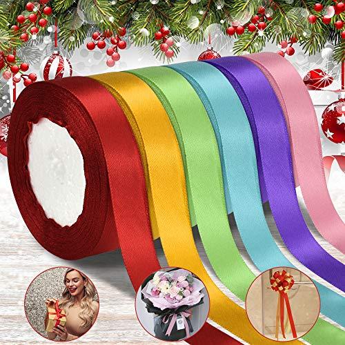 DECARETA 6 Rouleaux de Ruban Satin 22m Ruban de Soie Rubans de Couleur Ruban Satin Mariage Celebrate Ruban de Noël Coupable Rubans pour Emballage Cadeau, Decoratif, Bricolage, Artisanat