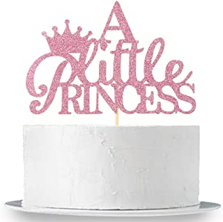 Pink Glitter A Little Princess Cake Topper , Gender Reveal Cake Topper , Baby Shower Party Decorations Supplies for Baby Girl