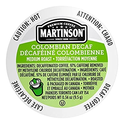 Martinson Single Serve Coffee Capsules, Colombian Decaf, Compatible with Keurig K-Cup Brewers, 24 Count, Brown (816932200322)