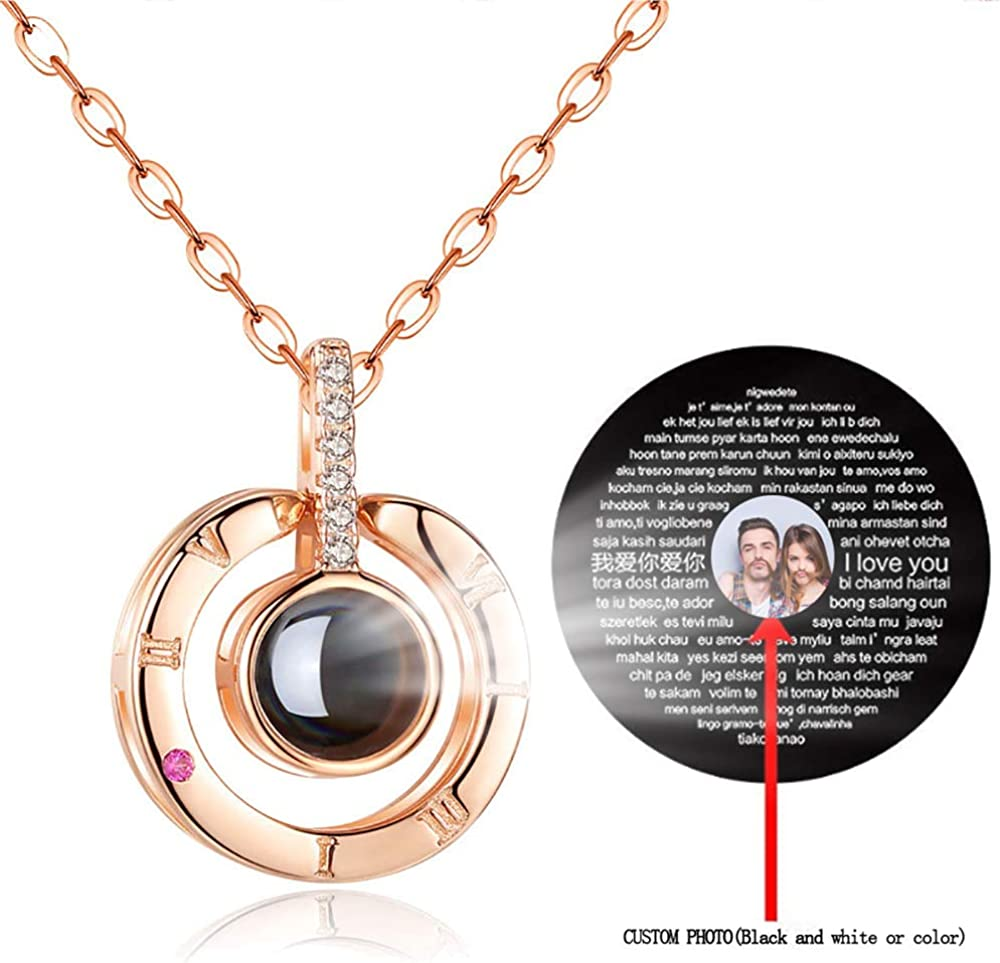 Aosida Custom/Photo I Love You Necklace Onyx Projection Pendant Personalized Silver Rose Gold Collarbone Best Gift for Women Girls Men Valentines Day Anniversary Jewelry