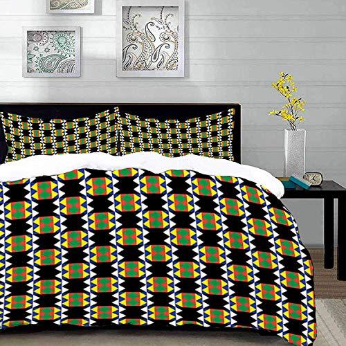 ropa de cama - Juego de funda nórdica, diseño Kente, diseño étnico sudafricano zulú con detalles triangulares Funky and Primitive, Multic, juego de funda nórdica de microfibra con 2 fundas de almohada