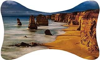 ALUONI Coastal Decor Durable Car Headrest Pillow,Twelve Apostles Australia Sunset Great Ocean Road Coast Cliff Washed by Sea Surf Picture for Car,10.2