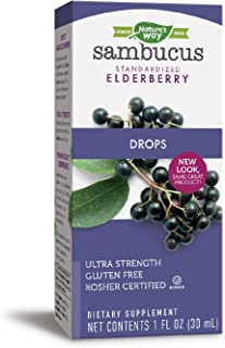 Sponsored Ad - Nature's Way Sambucus Elderberry Drops Ultra-Strength 6400mg Fresh Elderberry Equivalence, 1 Ounce
