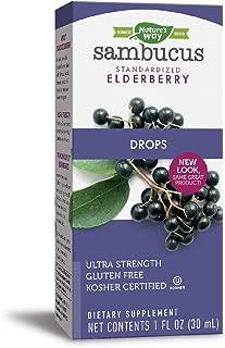Nature's Way Sambucus Elderberry Drops Ultra-Strength 6400mg Fresh Elderberry Equivalence, 1 Ounce