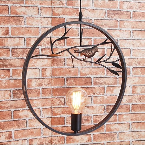 Modeen Lampadario a forma di lampadario a forma di uccellino da 40 cm retro lampada a sospensione a soffitto SOFT Luce creativa E27 per la cucina di barn Warehouse Farmhouse (Color : Black)