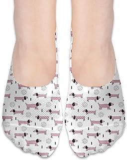 MZZhuBao Adorable Little Dachshund Teckel Puppy No Show Socks Women,Black Greyhound Dog Silhouette Fabric