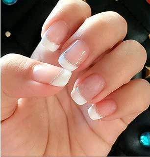 24 Pcs Set Silver Line Pink French Short Chic Press On Nails False Nails Fake Nail Tips Nail Art Manicure with Glue and Adhesive Tab