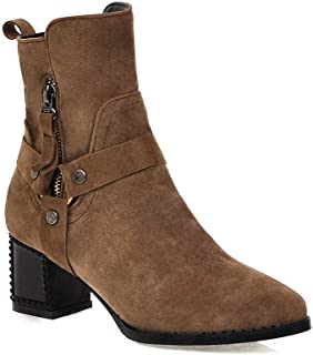 BalaMasa Womens ABS13932 Closed-Toe Pointed-Toe Travel Brown Pu Boots - 4.5 UK (Lable:38)
