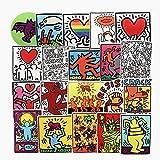 ジャション クラットブ Keith Haring 落書きアート ステッカー シール50枚ステッカーセット ステッカー 防水 日焼け止め ステッカー ブランド スーツケースステッカー お気に入りのスーツケース、ギター、バイク、自転車、水のボトル、ヘルメット、パソコン、携帯、ノート,DIY