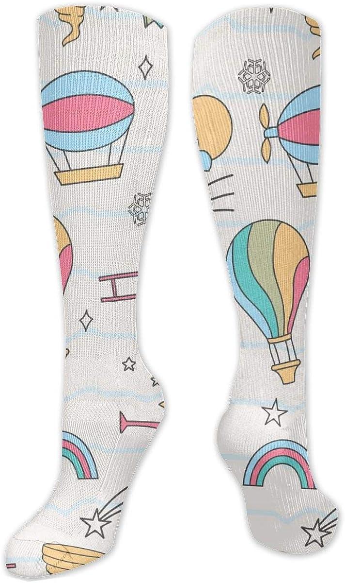 Christmas Airplane Hot Air Balloon Knee High Socks Leg Warmer Dresses Long Boot Stockings For Womens Cosplay Daily Wear