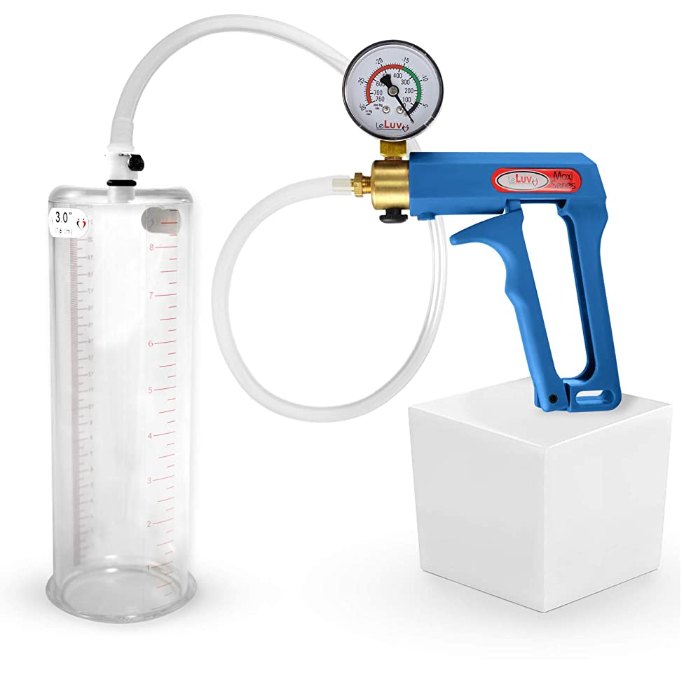 LeLuv Maxi Blue Plus Vacuum Gauge Penis Pump 9 x 3.00 Inch Cylinder