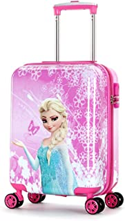 MOREFUN 19 Inch Kids Carry on Luggage Hard Side Shell Spinner Suitcase Rolling Wheels for Travel (Pink Princess)