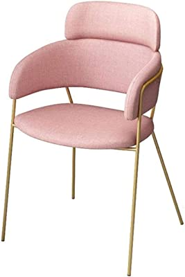 HSJWOSA Simple Casual Single Fabric Chair Designer Coffee Shop Negotiation Creative Dining Chair Conference Computer Chair (Color : Pink)