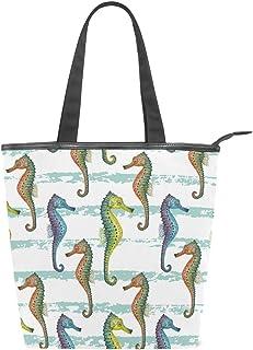 MALPLENA Schultertasche für Damen, gestreift, Seepferdchen