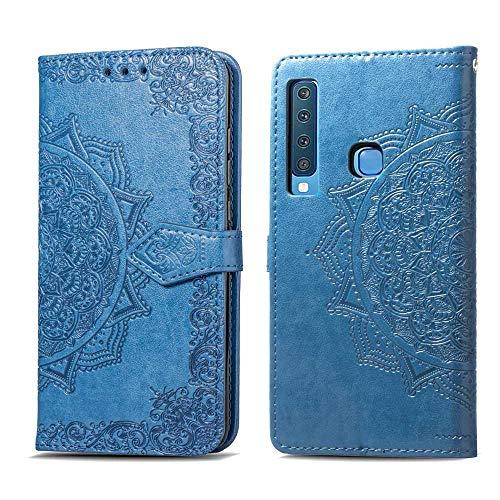 Bear Village Hülle für Galaxy A9 2018, PU Lederhülle Handyhülle für Samsung Galaxy A9 2018, Brieftasche Kratzfestes Magnet Handytasche mit Kartenfach, Blau