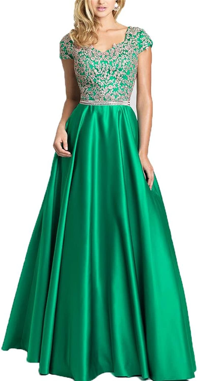 Yilis Aline Lace Beaded Satin Long Evening Party Dress Cap Sleeve Prom Dress