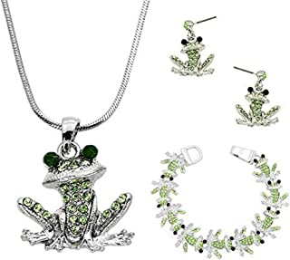 Lola Bella Gifts Green Crystal Frog Pendant Necklace Earrings Bracelet Set with Gift Box