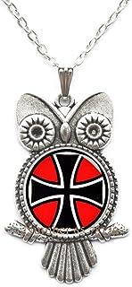 Yijianxhzao Maltese Cross Owl Necklace,Maltese Cross,Cross Owl Necklace,Maltese Pendant,Custom Wedding Owl Necklace,Groom Owl Necklace,BV051