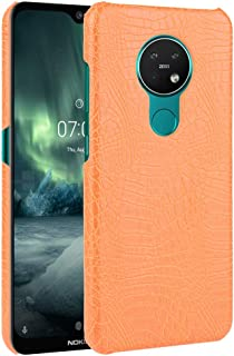 For Nokia 7.2/6.2 Shockproof Crocodile Texture PC + PU Case New (Black) Hopezs (Color : Orange)