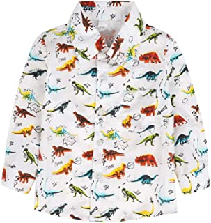 SHIRT1-KIDS Dinosaur Childrens Girls Short Sleeve Ruffles Shirt Tee Jersey for 2-6 Toddlers