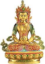 Tibetan Buddhism Supplies Tantric Buddha Statue Decoration Nepal Painted Handmade Alloy 6-inch High Longevity Buddha Statue