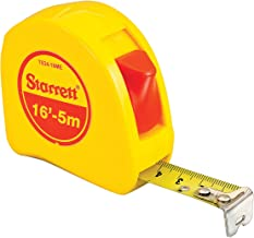 Starrett KTS34-16ME-N ABS Plastic Case Yellow Measuring Pocket Tape, English/Metric Graduation Style, 16' (5m) Length, 0.75