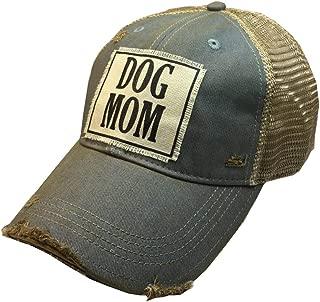 VINTAGE LIFE Distressed Washed Fun Baseball Trucker Mesh Cap (Dog Mom (Sky Blue))