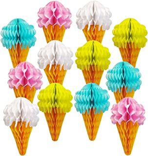 Just Artifacts 12pcs Assorted Ice Cream Cone Shaped 7inch Tissue Honeycomb Decorations (Pink, Blue, Yellow, White)