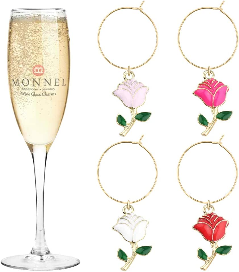 P441 Long Beach Mall Assorted Hollow Rose Trust Flowers Wine P Glass for Marker Charms