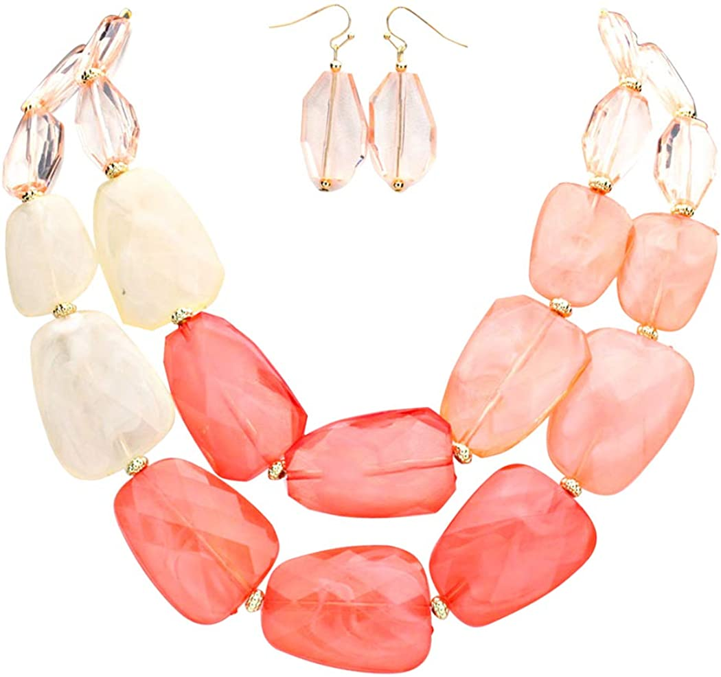 Rosemarie Collections Women's Max 78% OFF Ombre Statement Resin Polished Nec Ranking TOP8