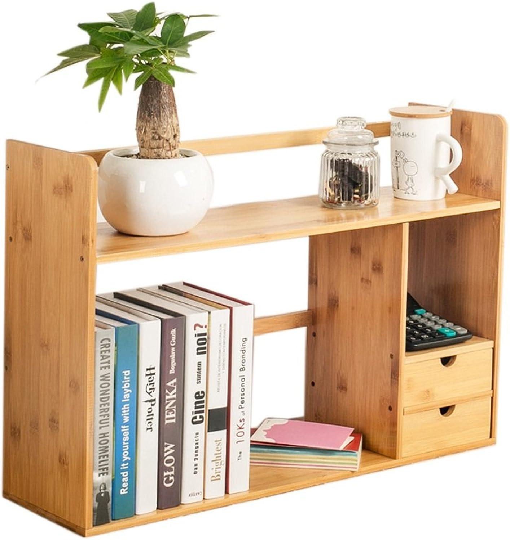LQQGXL.Storage and Organization Bookshelf Student Desk Bamboo Bookshelf Desk Storage Rack with Drawer (Size   481946cm)